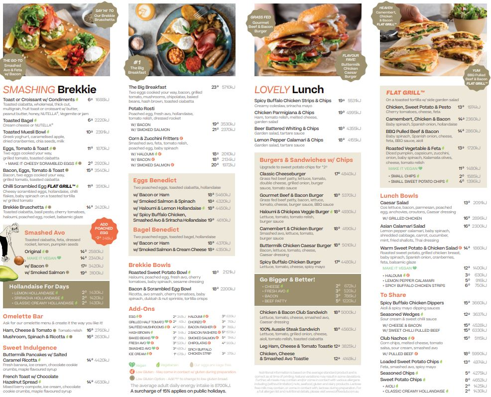 2nd page photo of the All Day menu at The Coffee Club