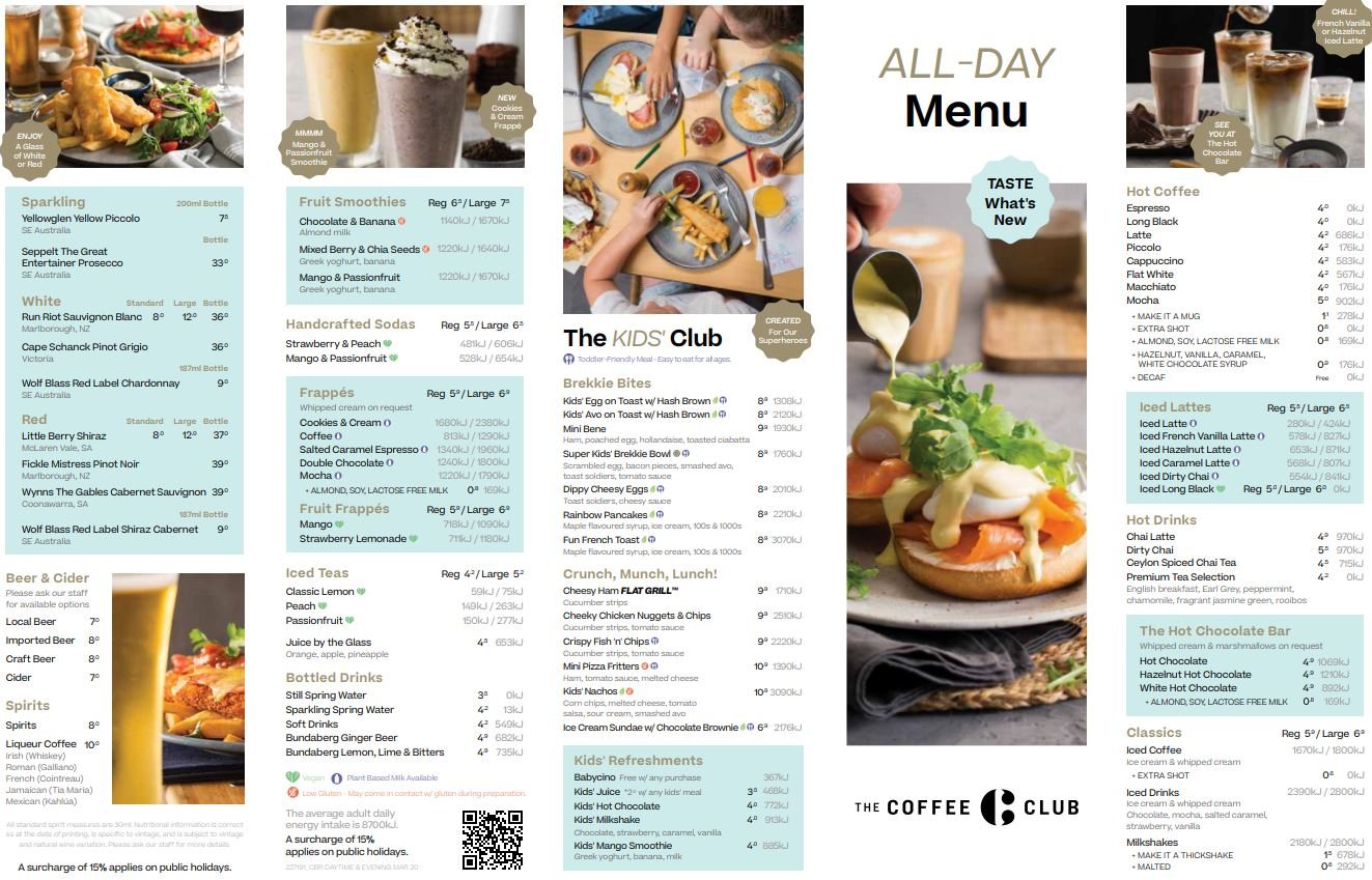 photo of the Evening menu at The Coffee Club