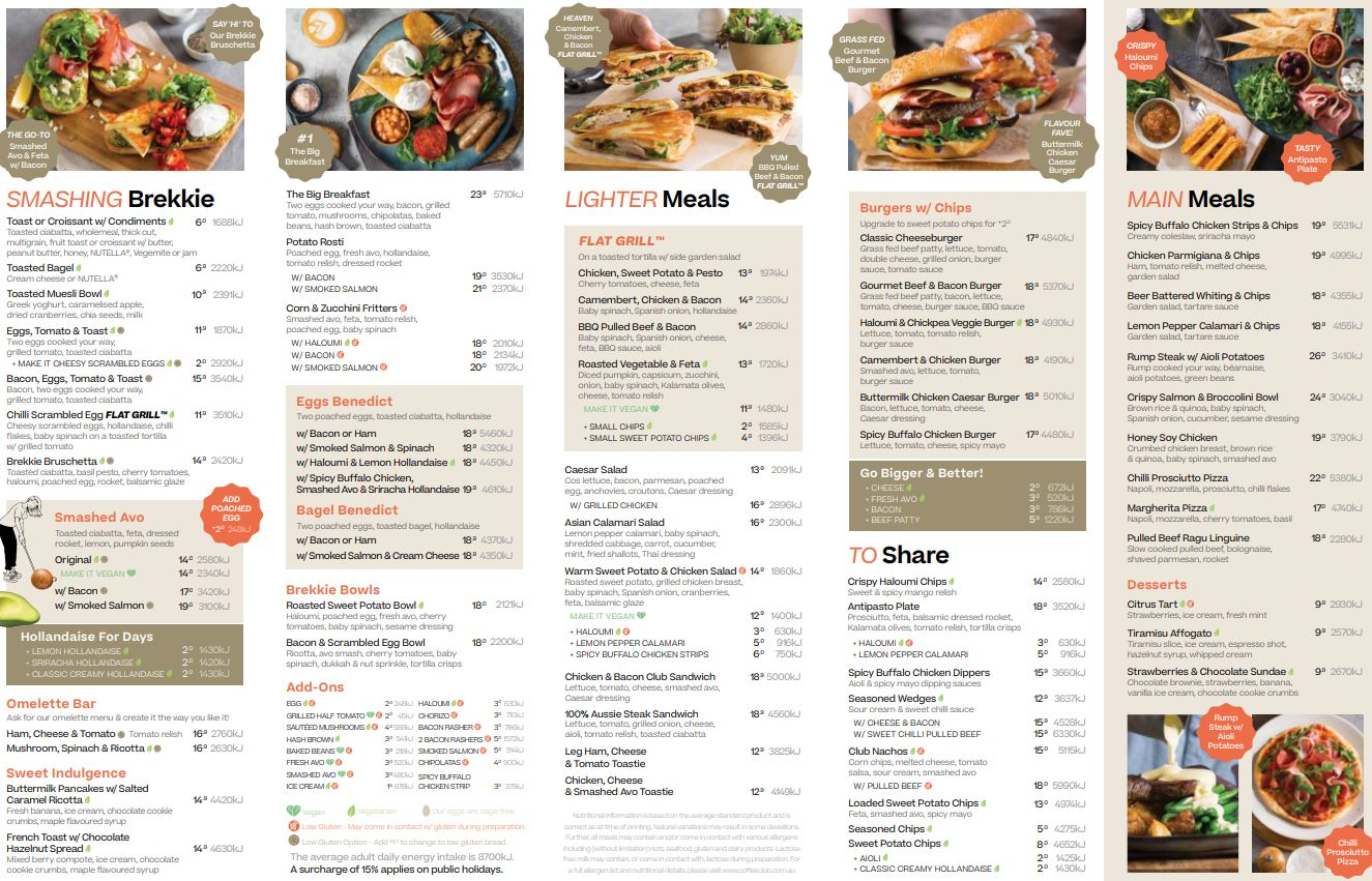 2nd page photo of the Evening menu at The Coffee Club