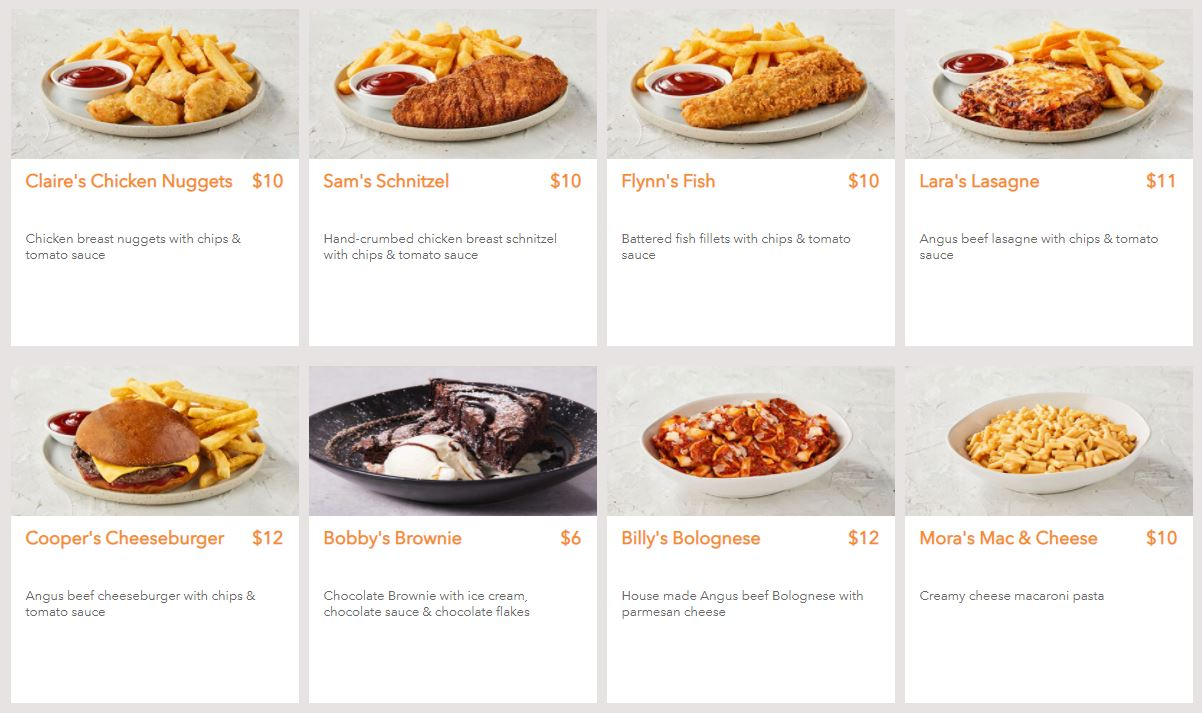 picture of the Childrens Meals on the Rashays menu